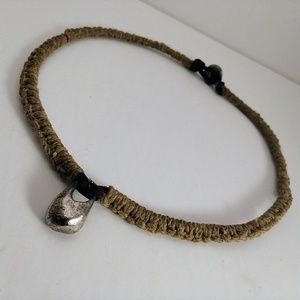 Jute and Leather Choker with Steel Charm